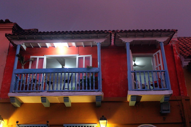 Colorful house in Cartagena old city, Colombia