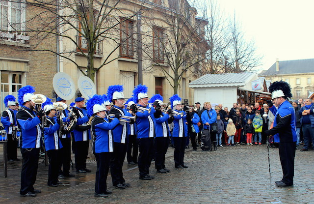 Music band at the Christmas market in Reims, France