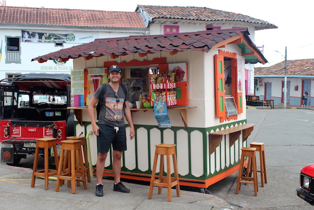 Fruit juices stall in Salento main square, Colombia