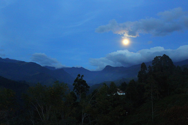 view over the rising moon in Salento, Colombia