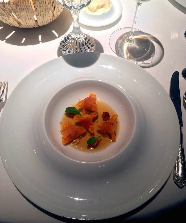 Butternut and bottarga ravioli at Anne-Sophie Pic restaurant, Valence