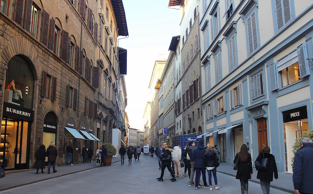 Luxury shops in via Tornabuoni in Florence