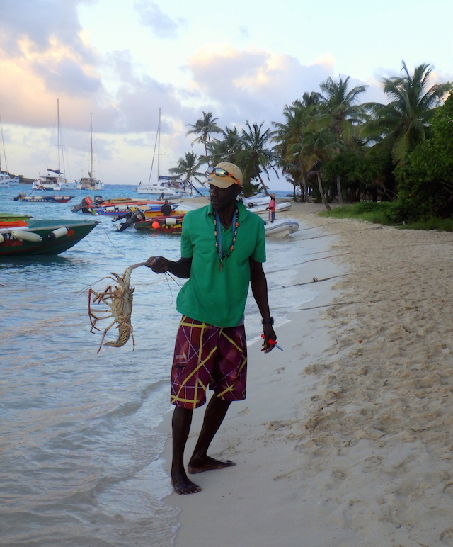 Lobsters dinner in Tobago Cays