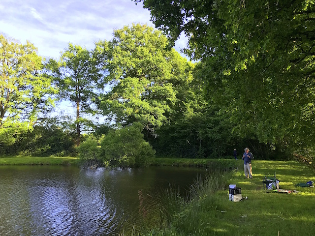 Fishing in the lake in Saint Sulpice Les Feuilles, Limousin, France