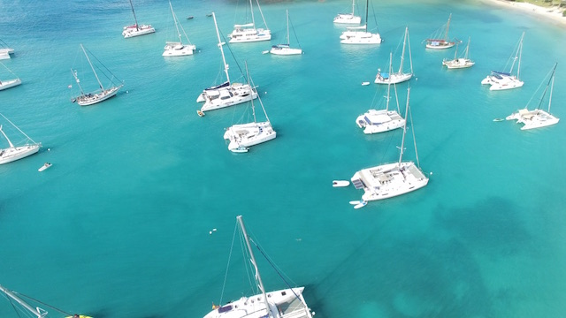 Drone view of Mayreau island in the Grenadines