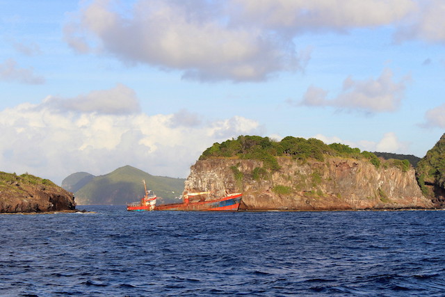 Wreck ship in the Grenadines