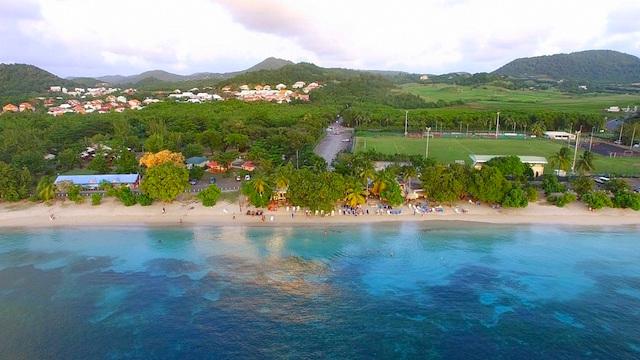 Drone view of Sainte Anne, Martinique