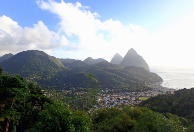 View over the Pitons in St. Lucia