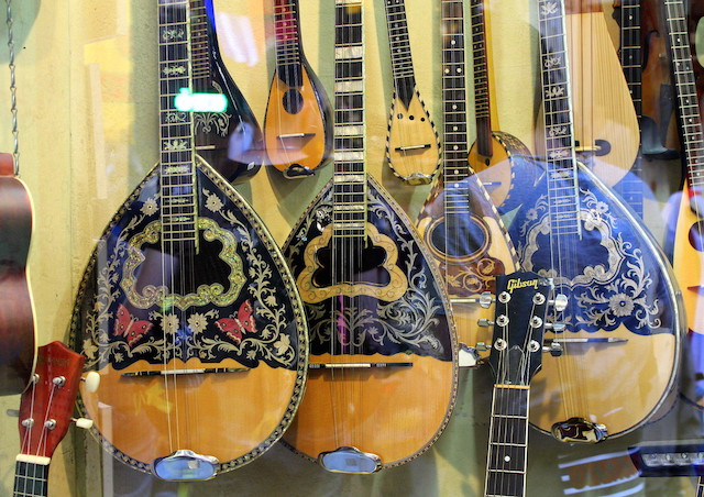 Guitars at the flea market in Athens