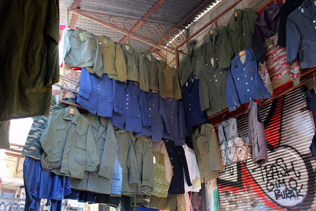 Military clothes at the flea market in Athens