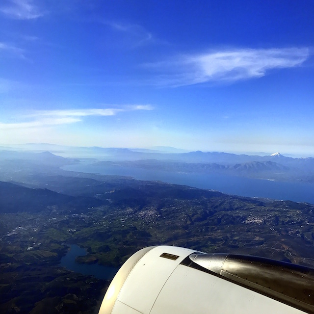 View of the Greek islands from the airplane