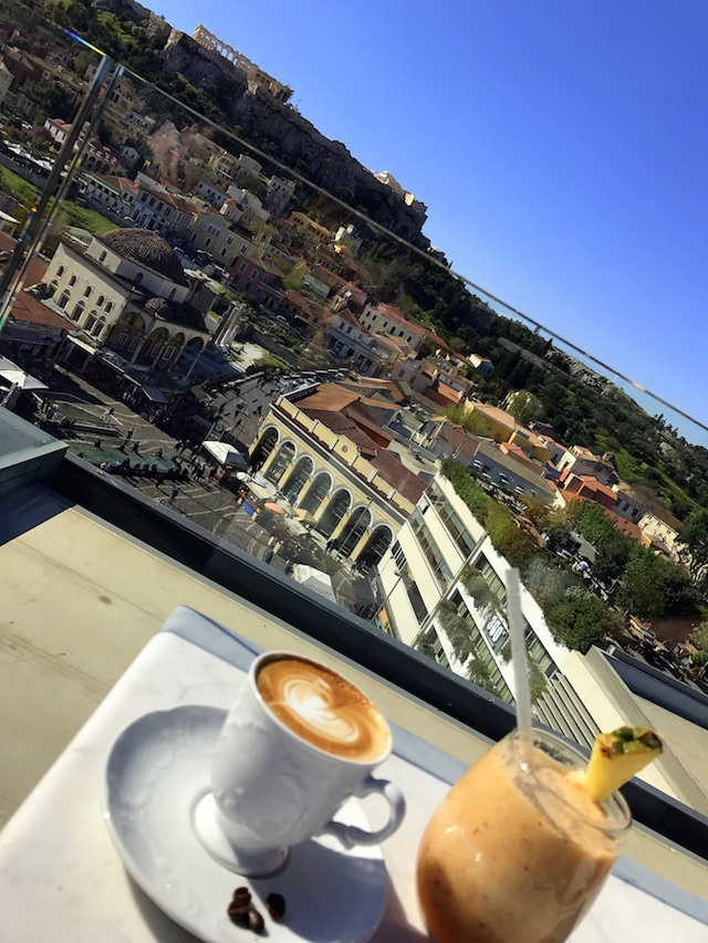 Breakfast on the rooftop of A for Athens