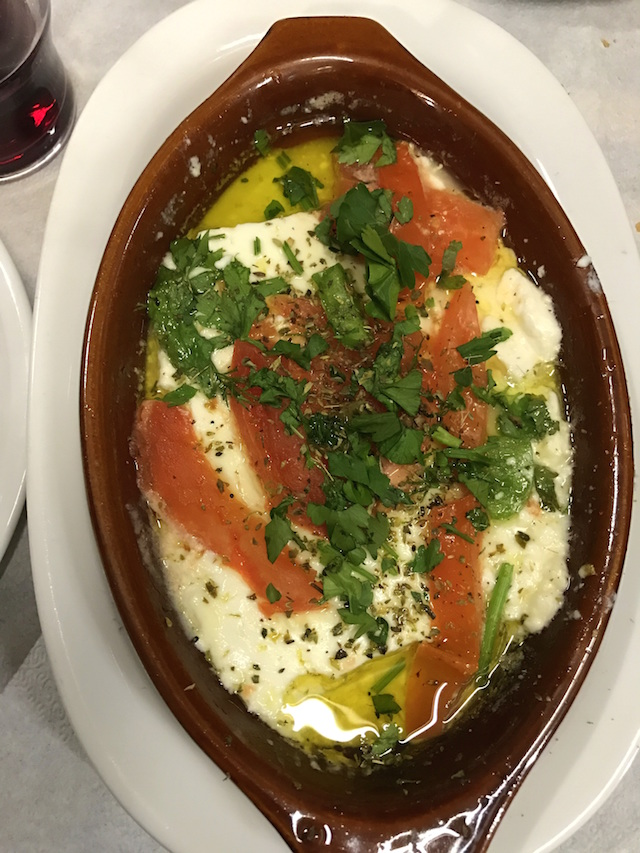 Baked feta at Evgenia restaurant in Athens