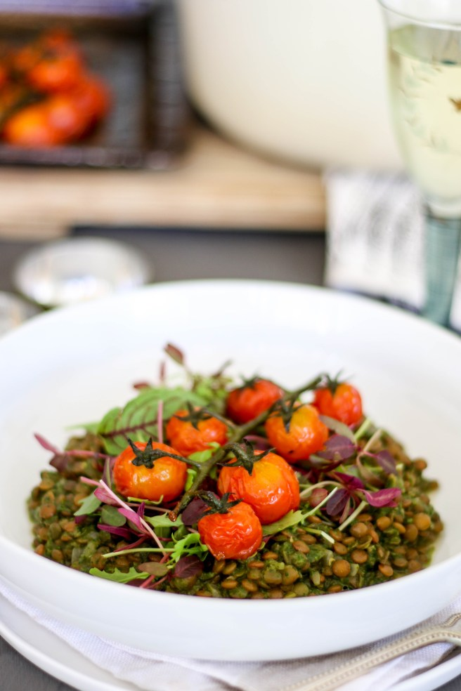 "lentil ""risotto"" with basil pistou 