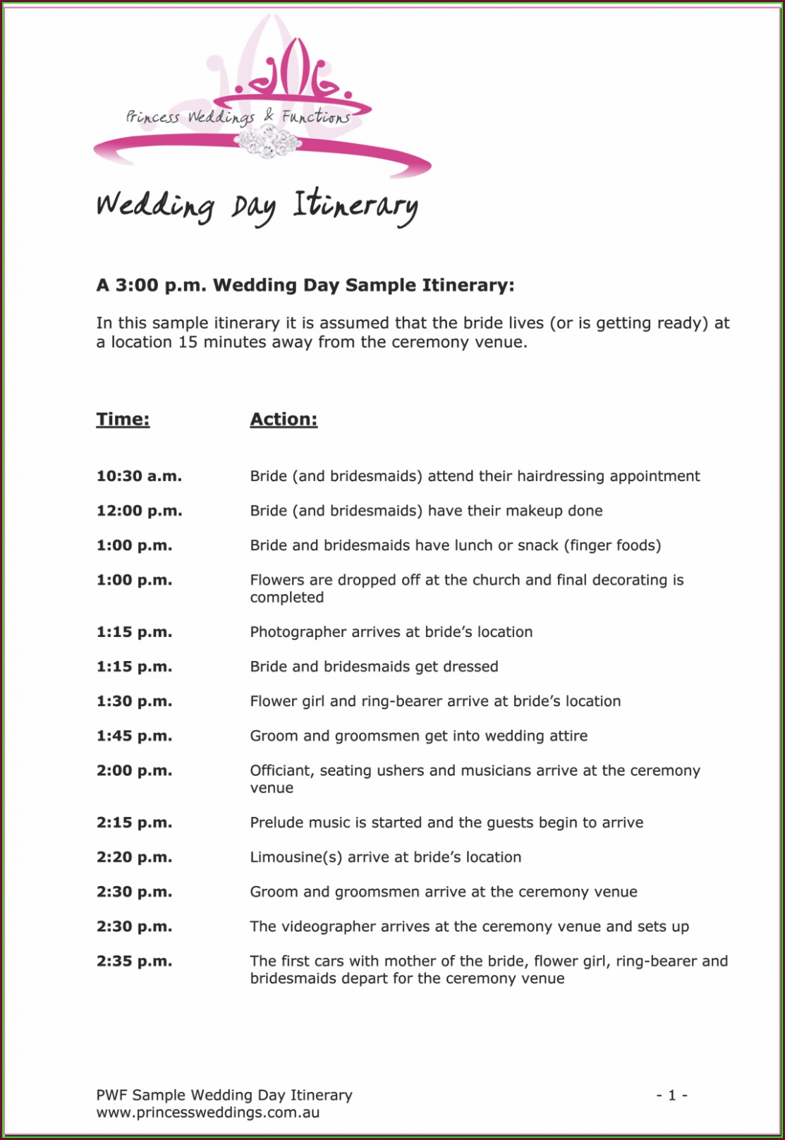 Wedding Reception Dj Itinerary Template Templates 1