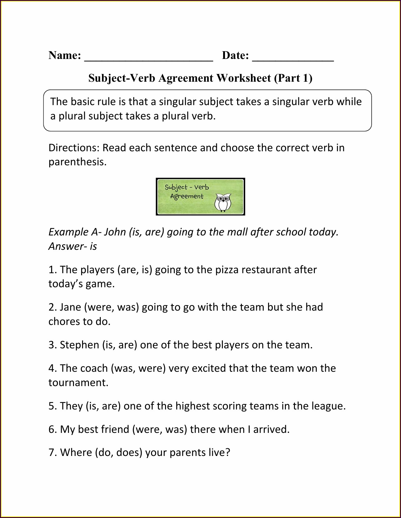 Subject Verb Agreement Worksheet For Grade 9 Worksheet