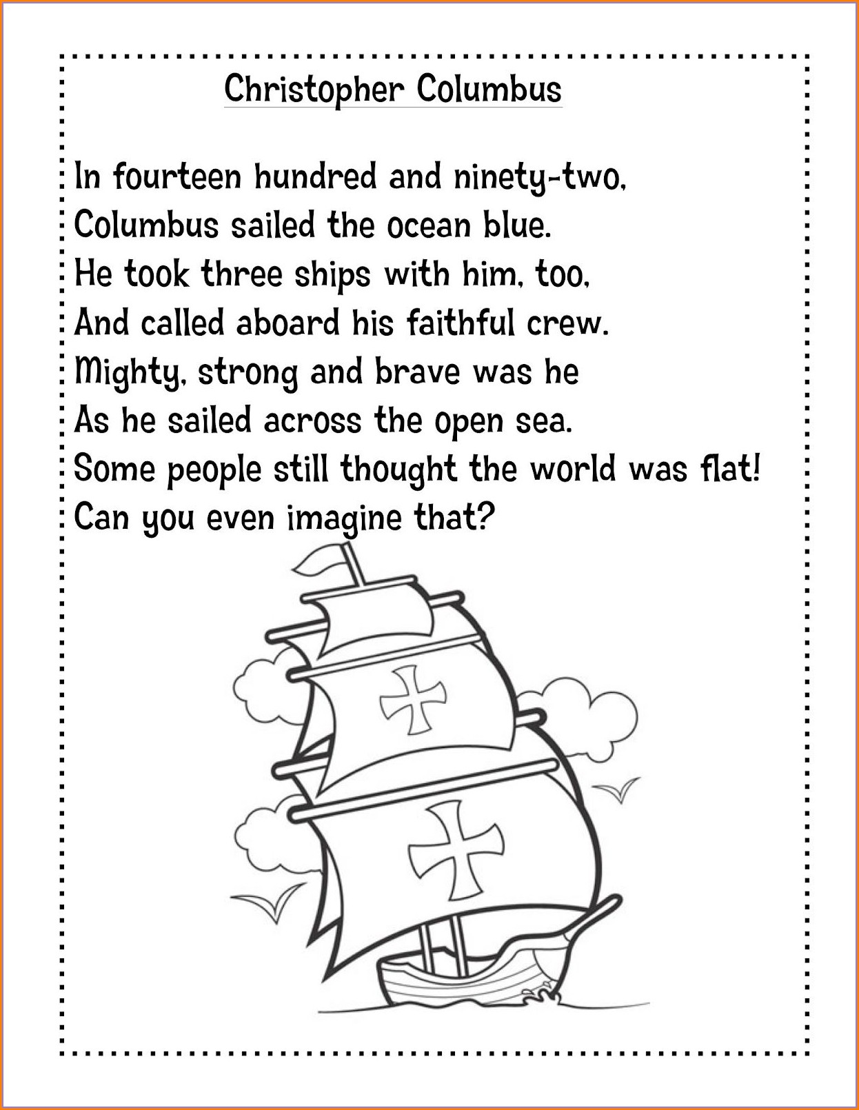 Christopher Columbus Worksheets For 1st Grade Worksheet