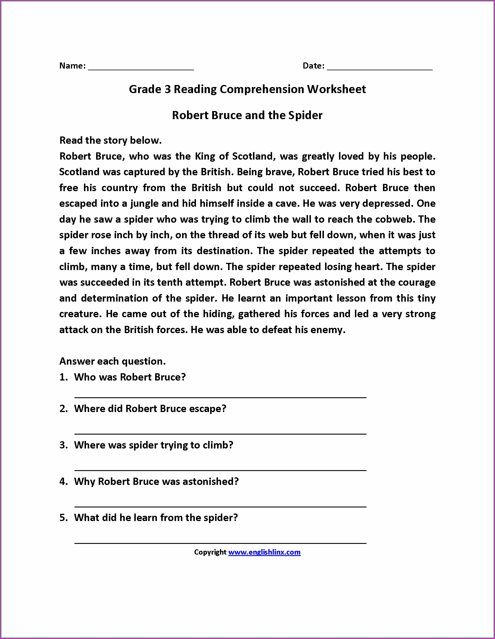 Comprehension Unseen Passage For Class 3 Cbse Worksheet