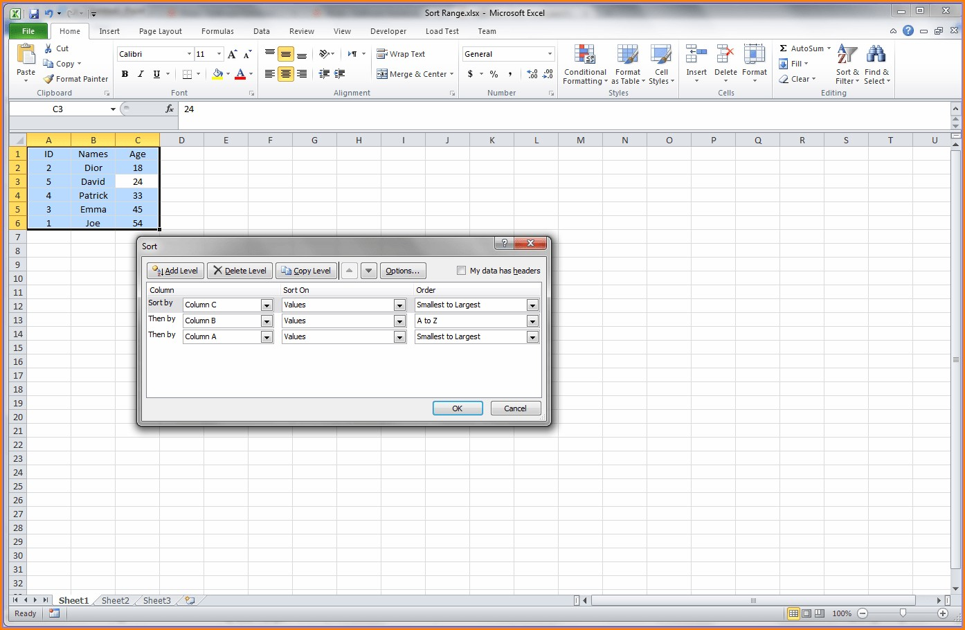 Excel Vba Sort Column With Header Worksheet Resume Examples