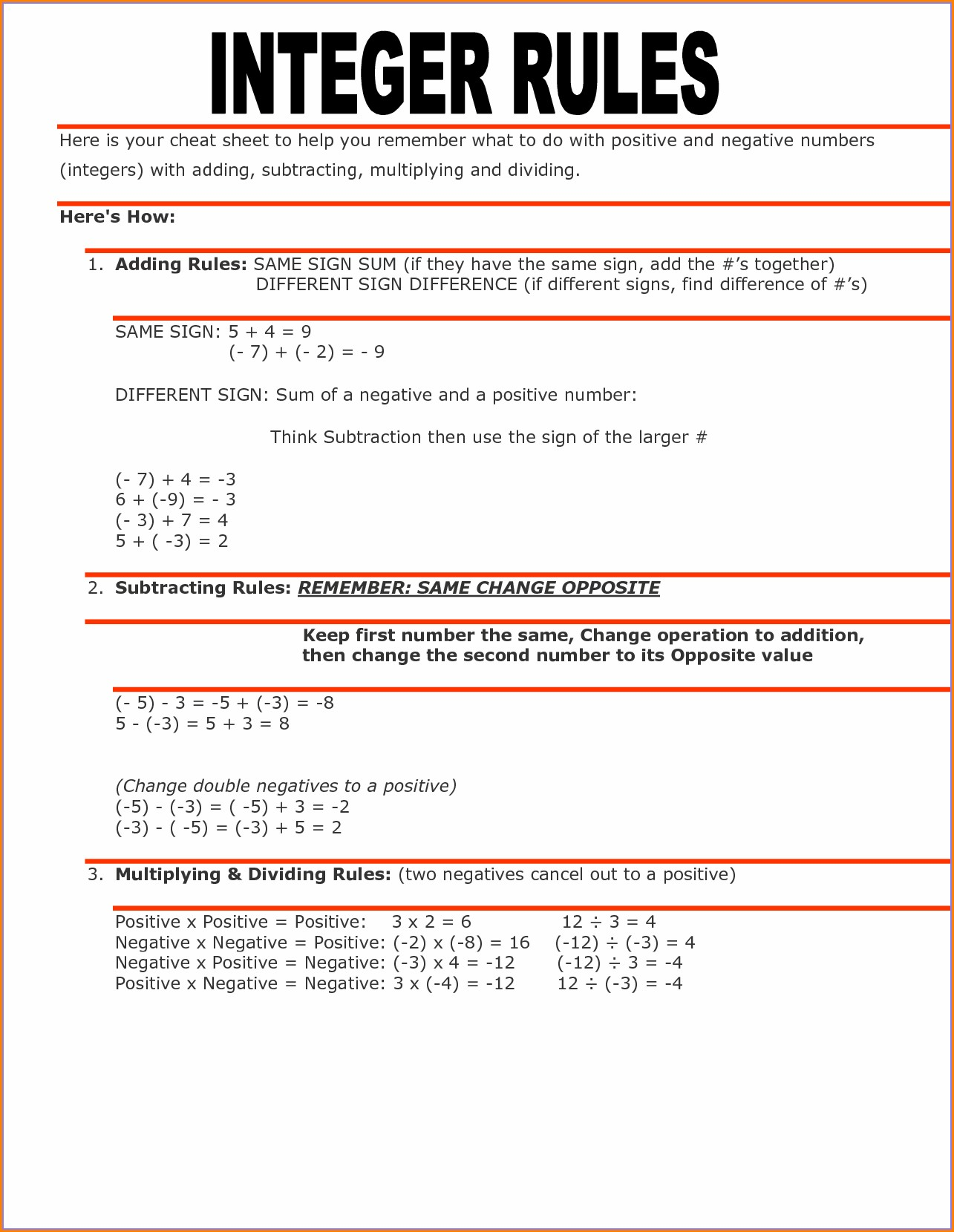 Printable Adding And Subtracting Integers Worksheet 7th