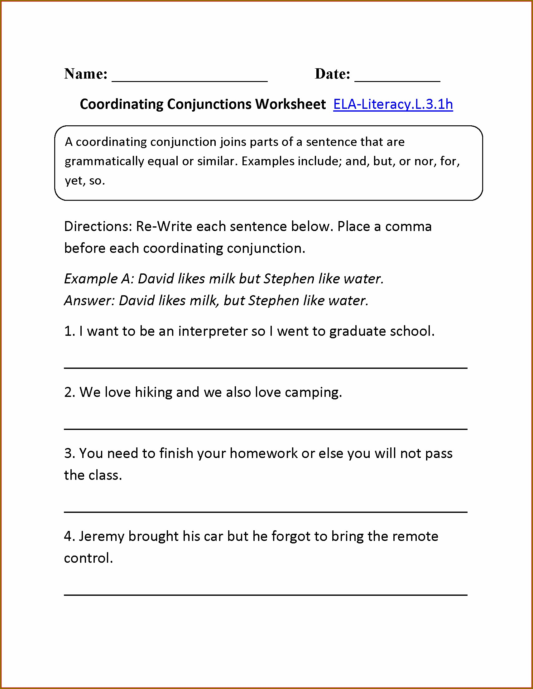 Conjunctions Worksheets For Grade 5 With Answers