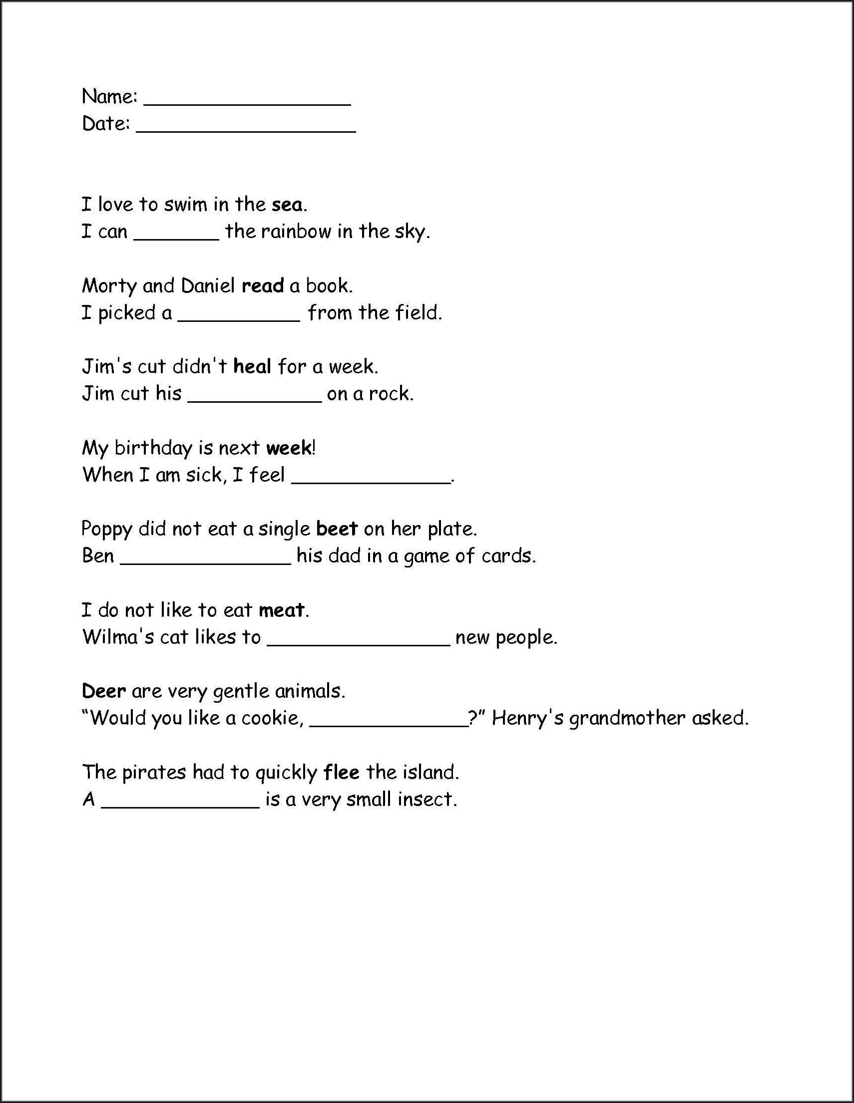 2nd Grade 1st Grade 2nd Grade Homophones Worksheets