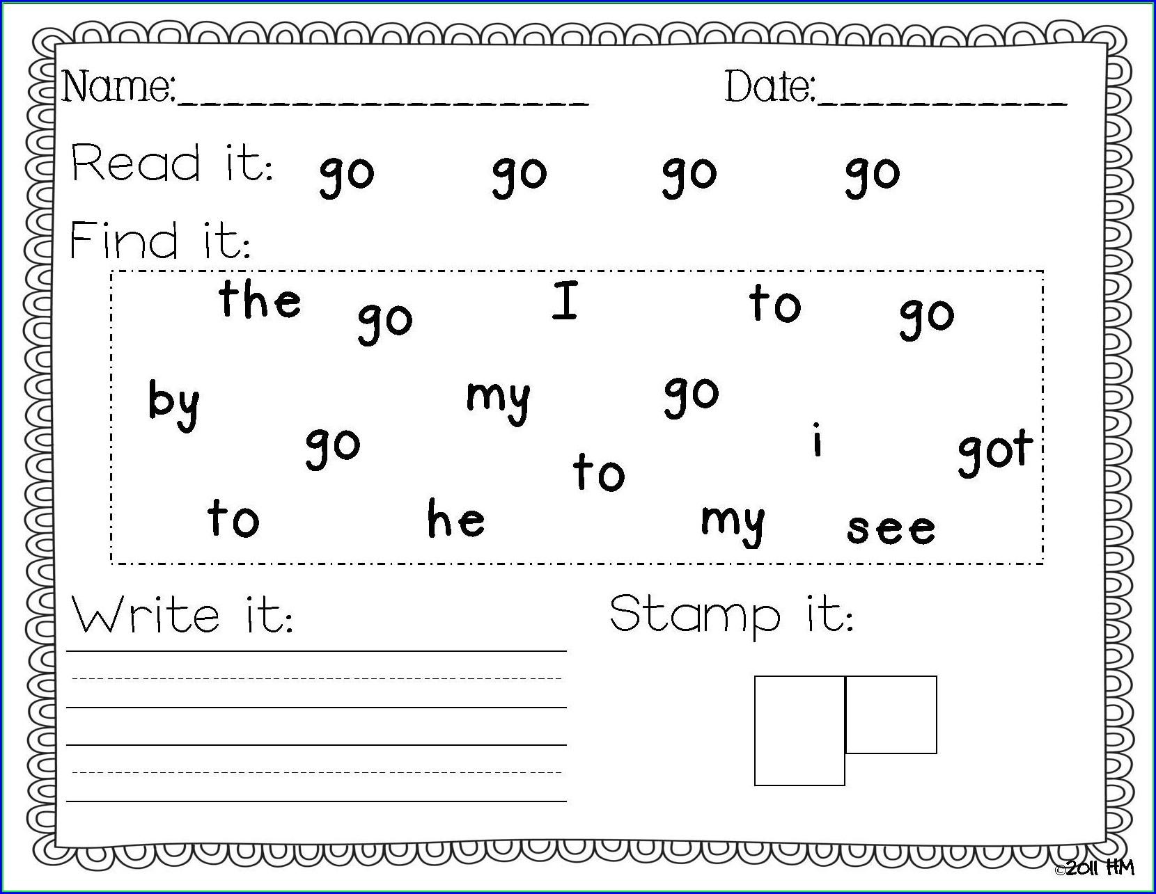 Handwriting Without Tears Preschool Assessment Worksheet