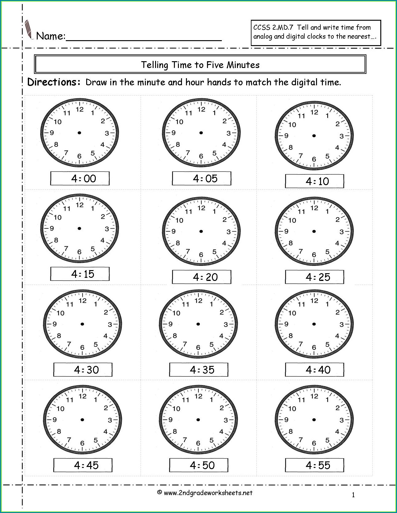 Printable Teaching Time Clock Worksheets Worksheet