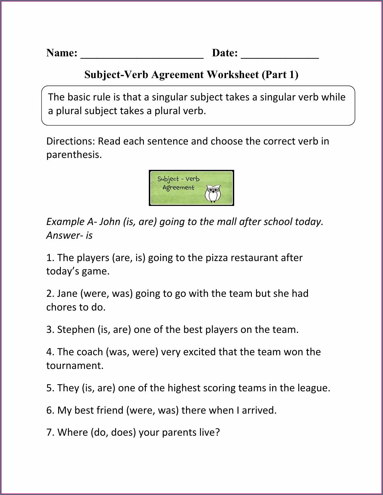 Subject Verb Agreement Quiz Second Grade Worksheet