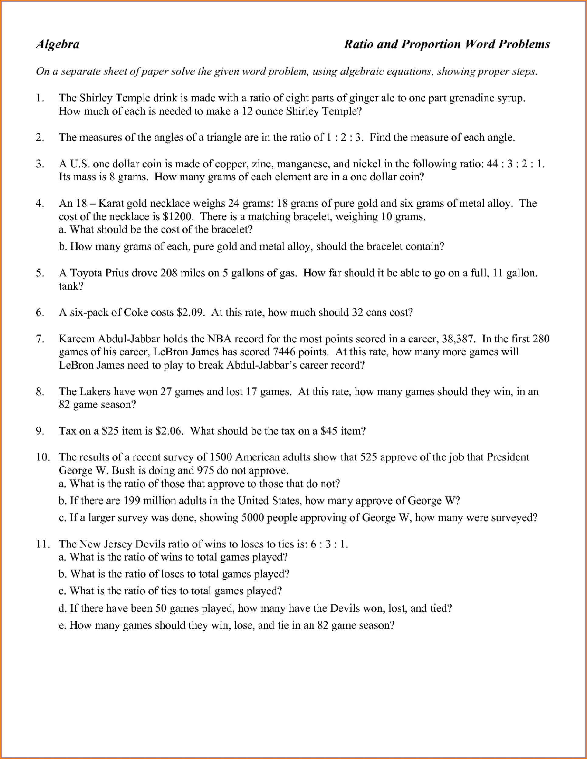 Direct And Inverse Proportion Word Problems Worksheet