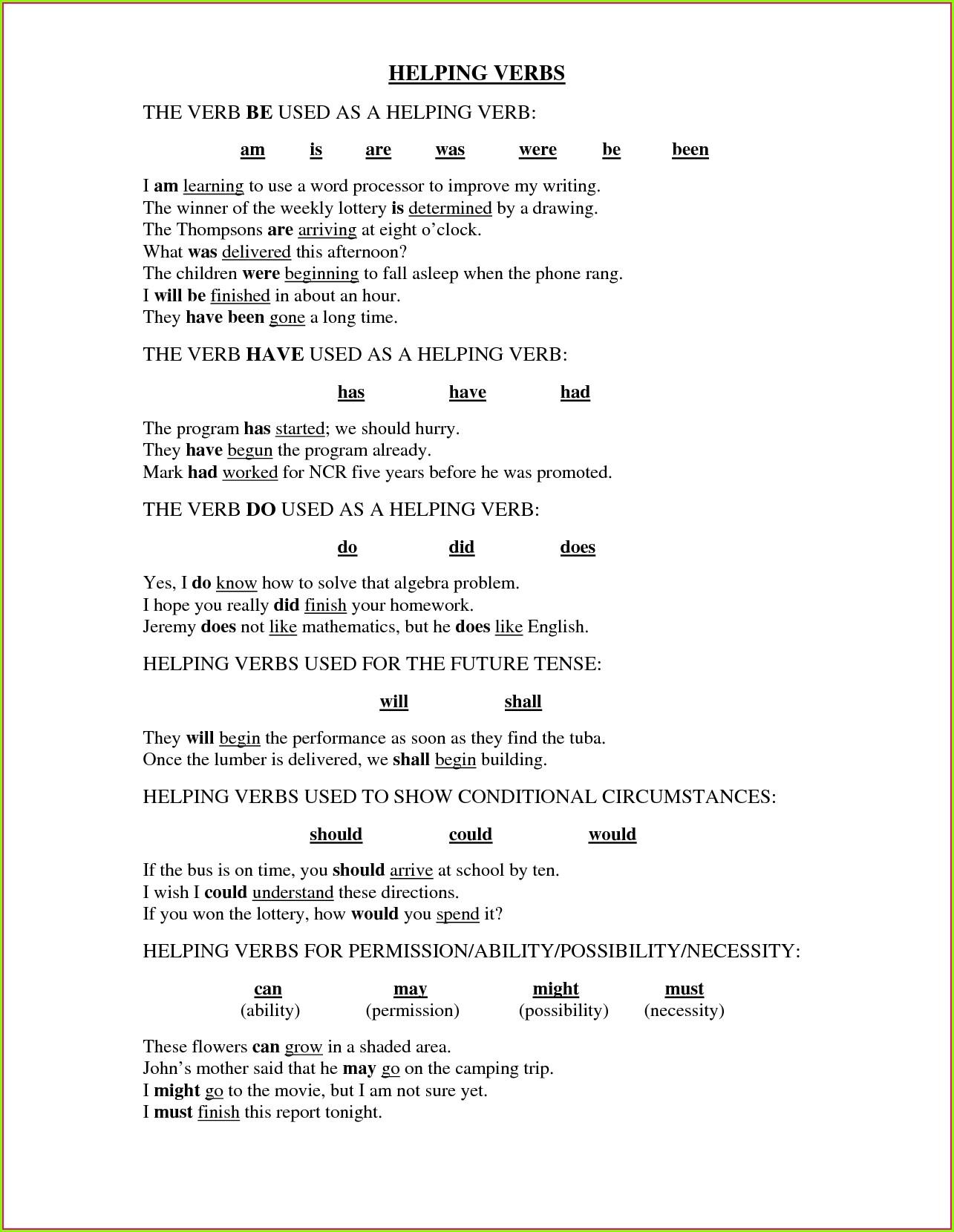 3rd Grade Helping Verbs Worksheets Worksheet Resume Examples