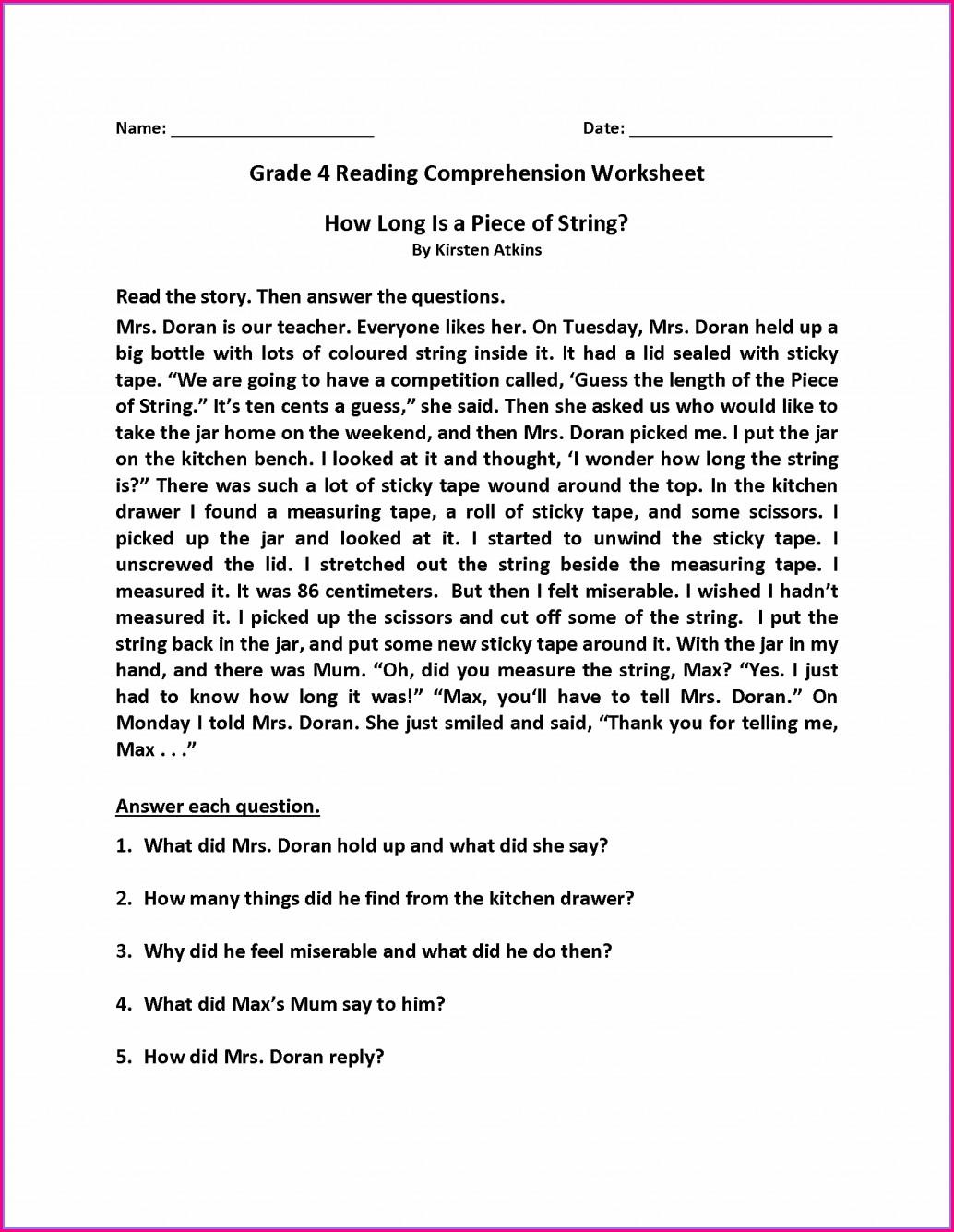 4th Grade Reading Comprehension Worksheet Worksheet