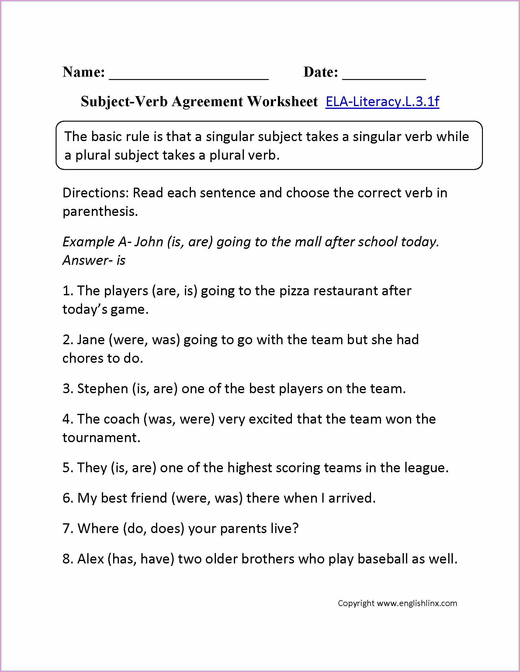 Subject And Predicate Worksheet Second Grade Worksheet