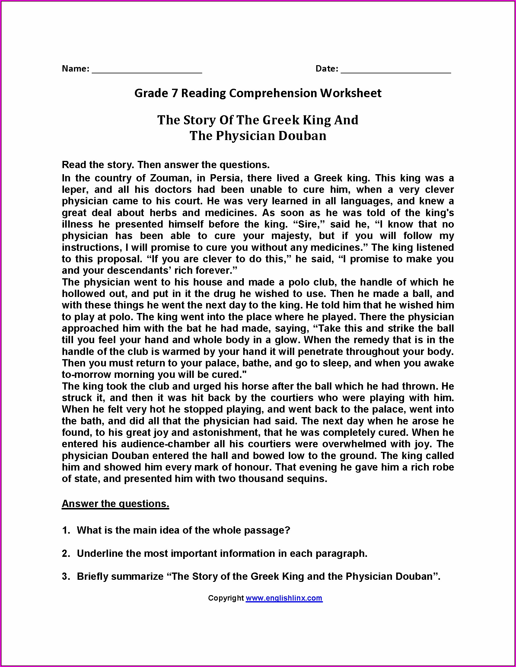 5th Grade Grade 5 Reading Comprehension Worksheets