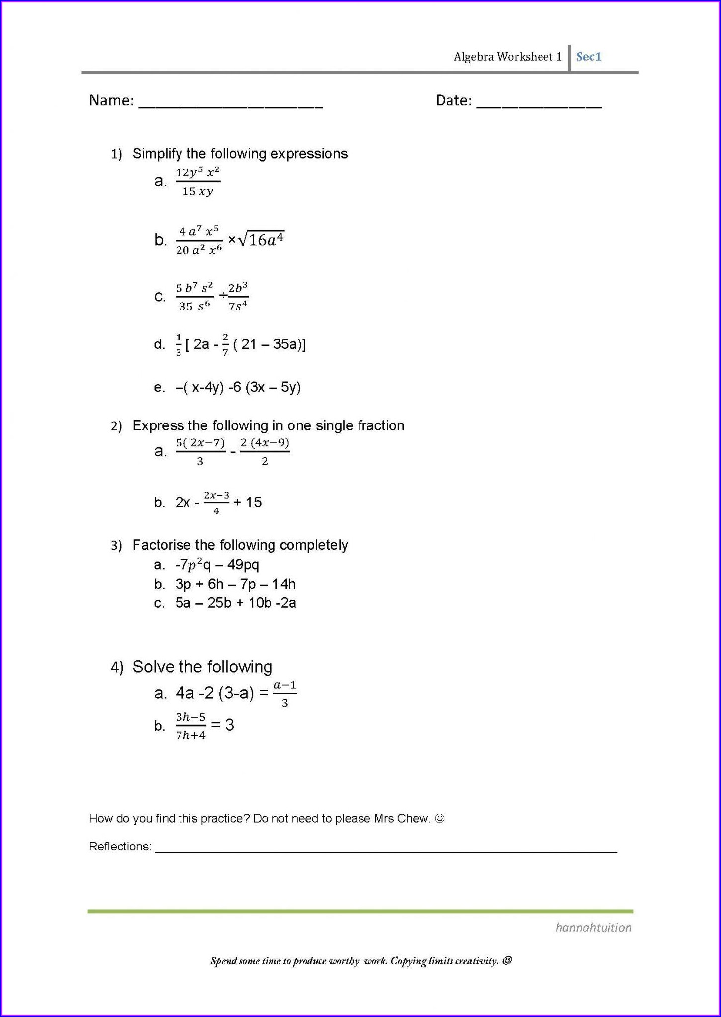 6th Grade Algebra Worksheets Grade 6 Worksheet