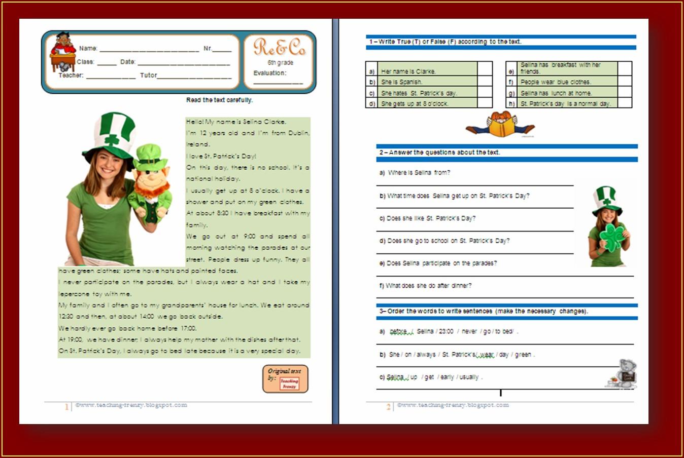 Comprehension Worksheet Year 1 Worksheet Resume Examples