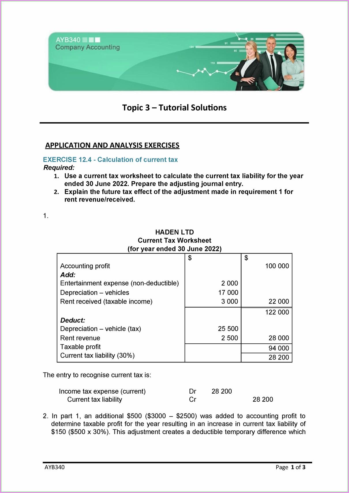 Deferred Tax Worksheet Movement During Year Worksheet