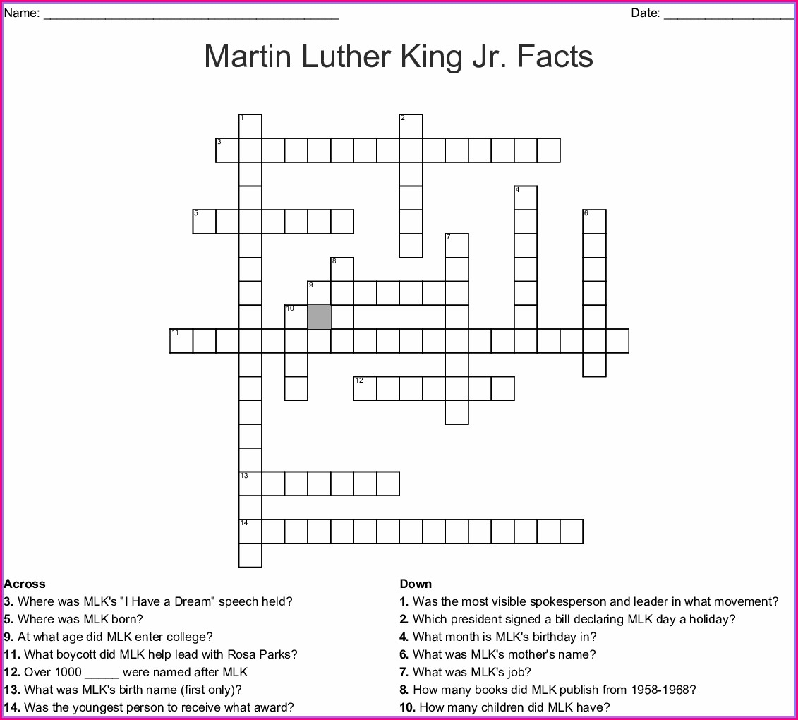 Martin Luther King Jr Crossword Puzzle Worksheet Answers