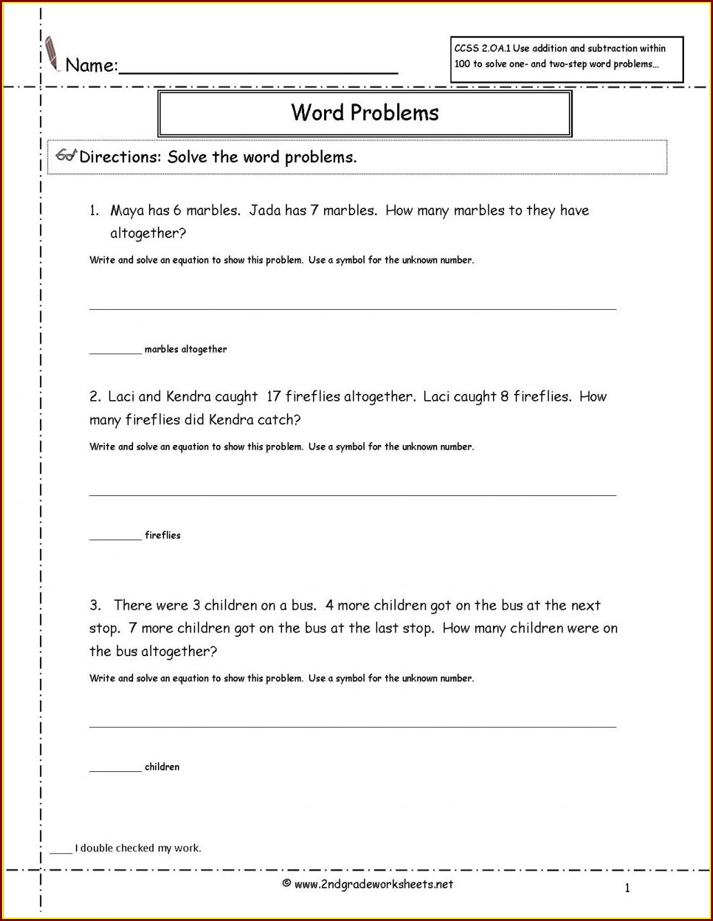 Math Worksheets For Grade 3 Division Word Problems