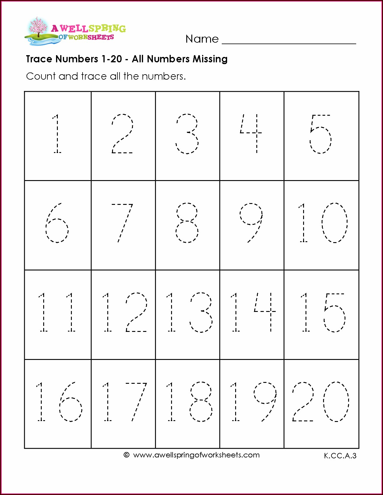 Number Tracing Worksheets 1 50 Free Printable Worksheets And Activities For Teachers Parents Tutors And Homeschool Families