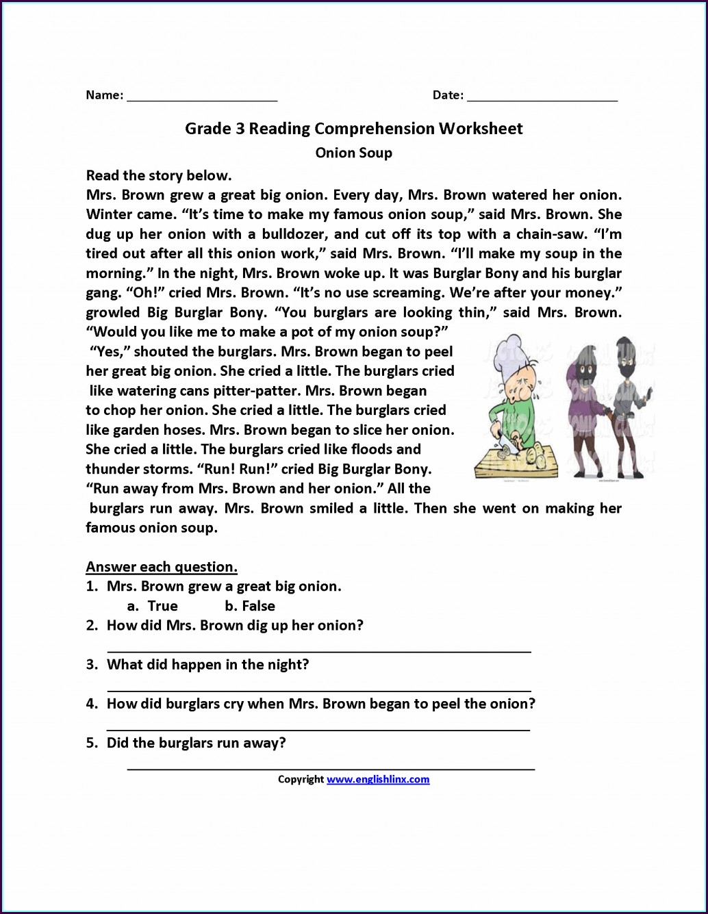 3rd Grade Printable Comprehension Worksheets Worksheet