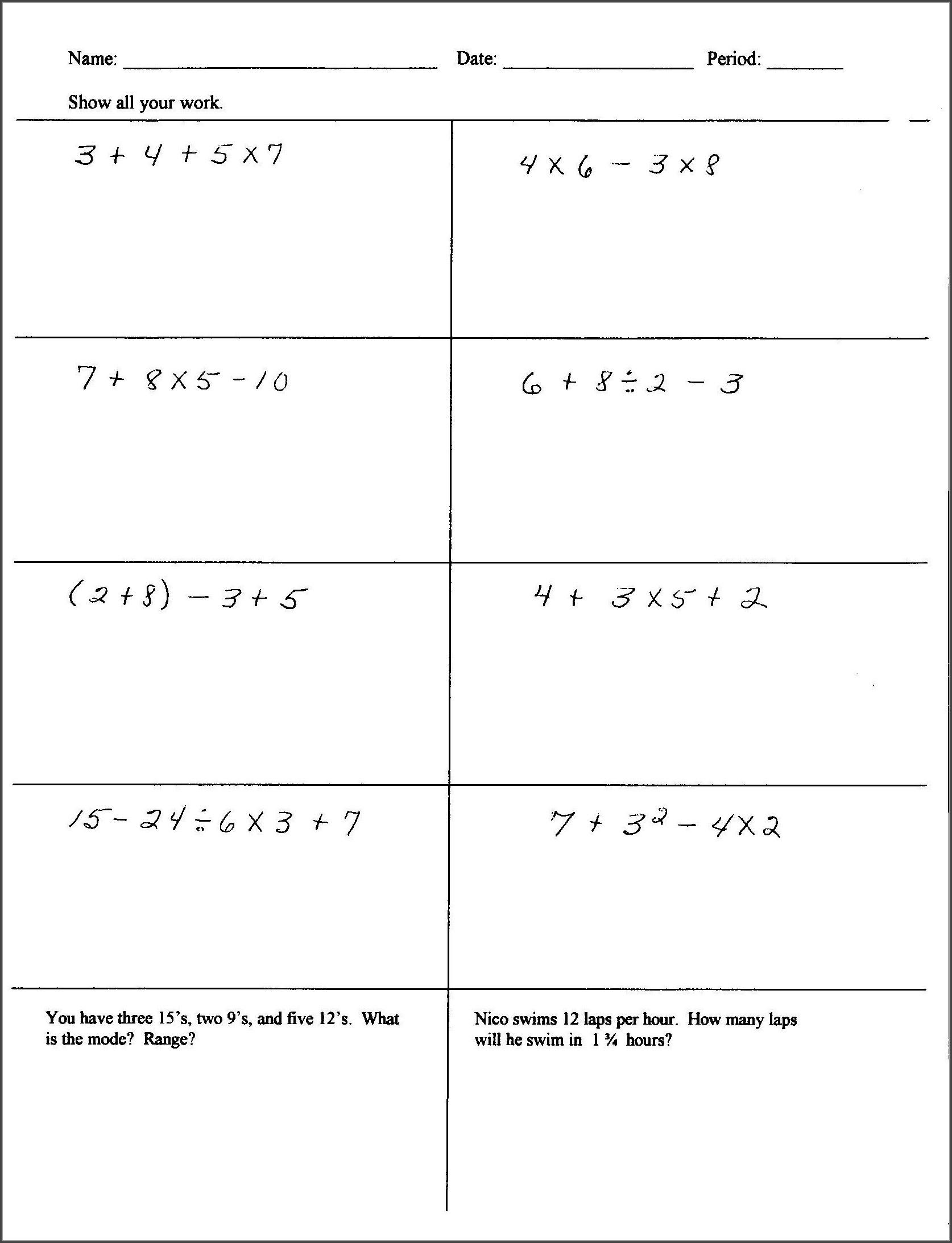Grade 7 Multiplication Of Integers Worksheet Worksheet