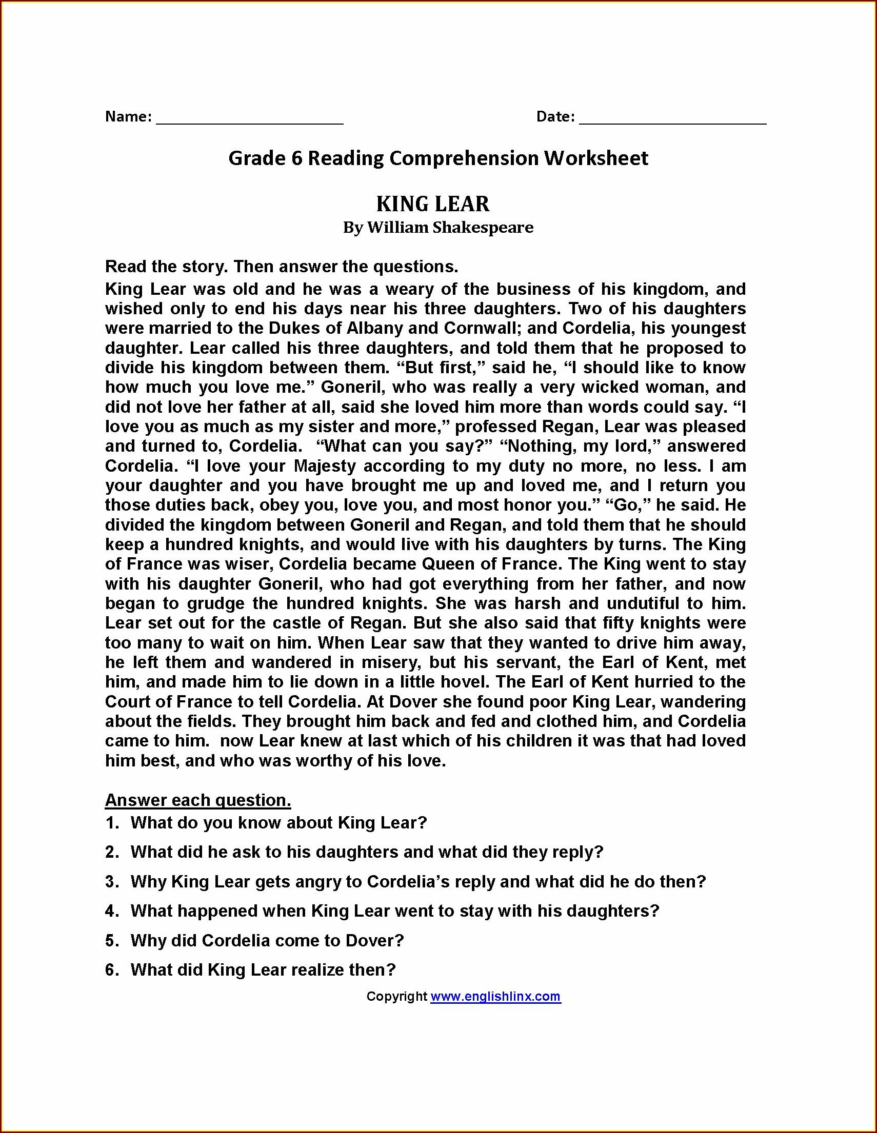 Comprehension Worksheet Grade 6 Worksheet Resume Examples