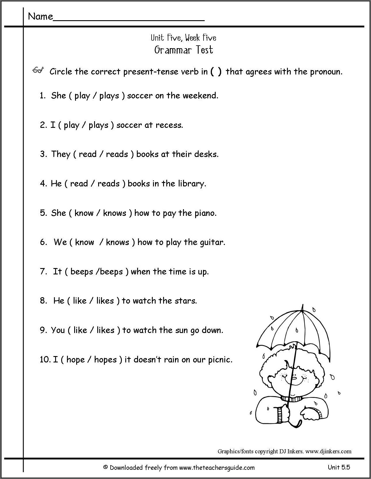 Worksheet Simple Present Tense Examples Sentences