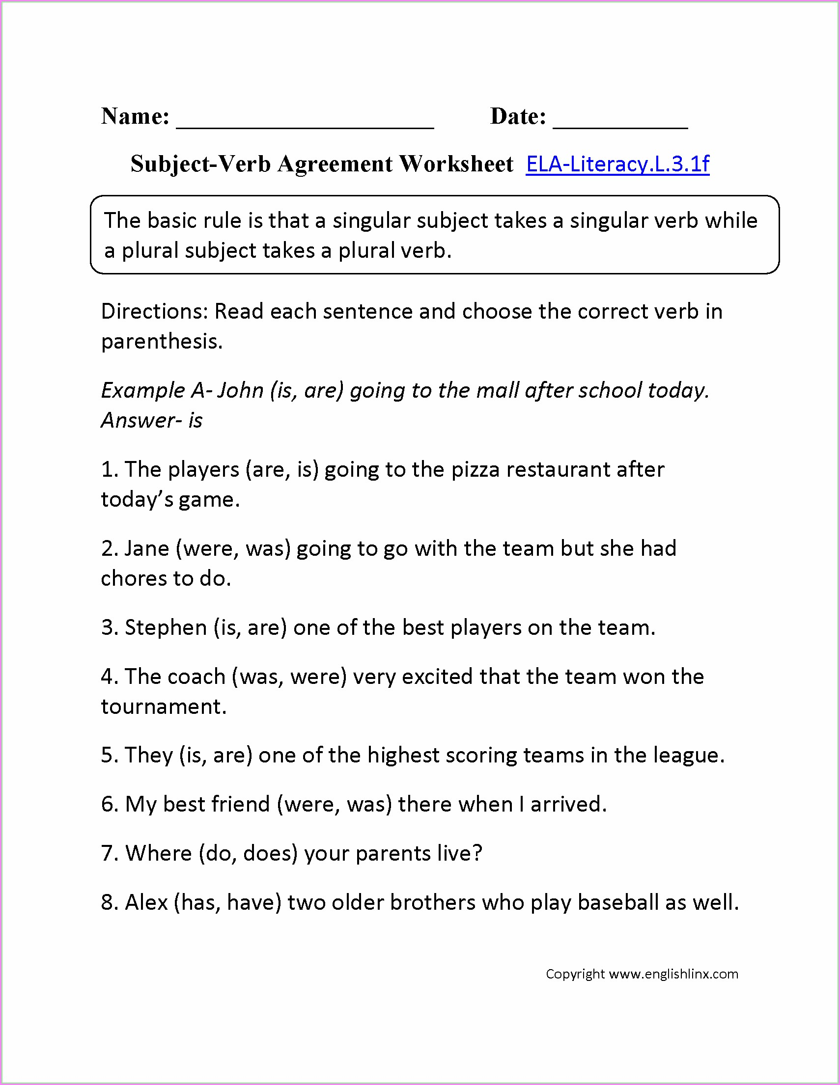 Subject Verb Agreement Worksheets Collective Nouns