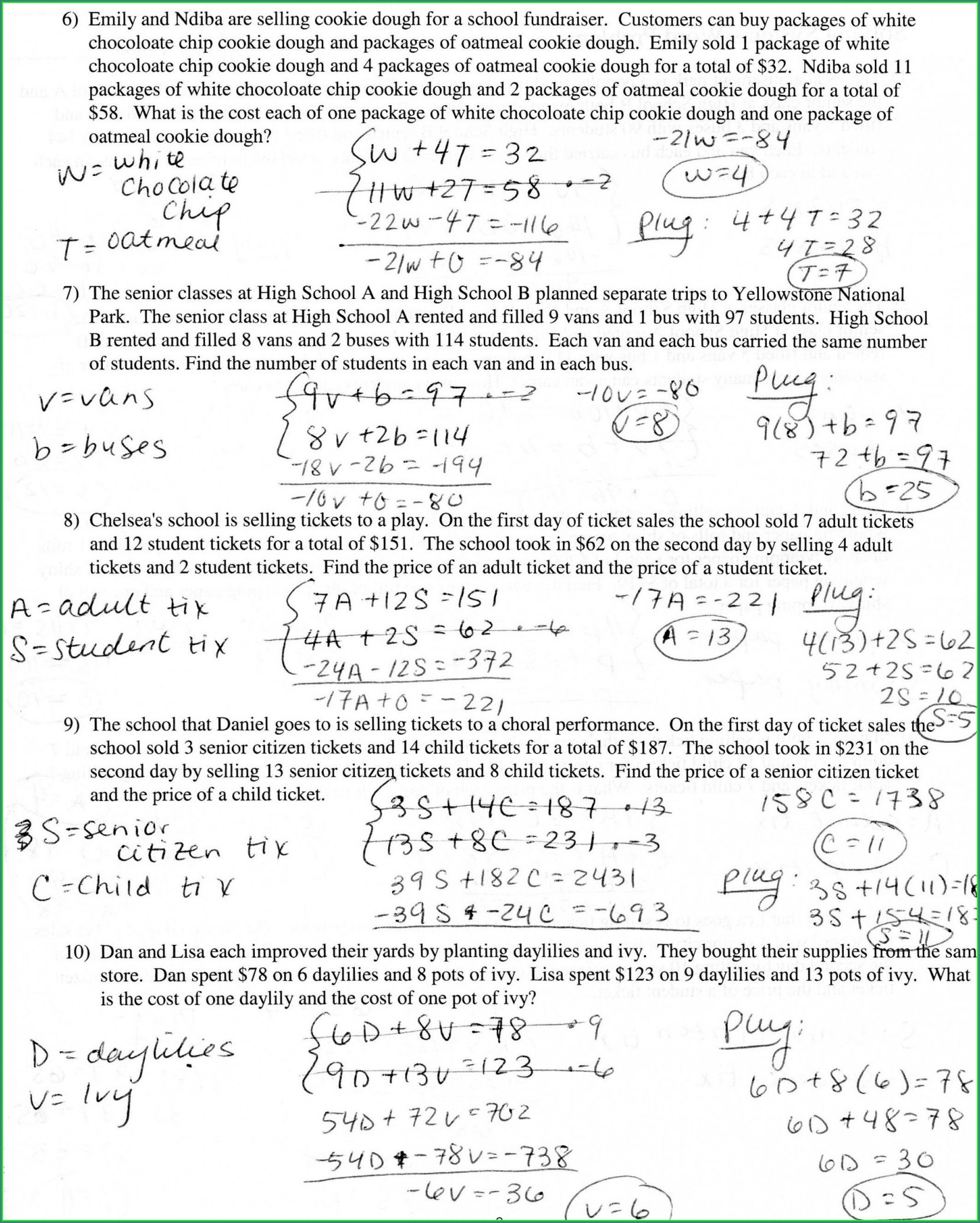Systems Of Equations Word Problems Guided Notes