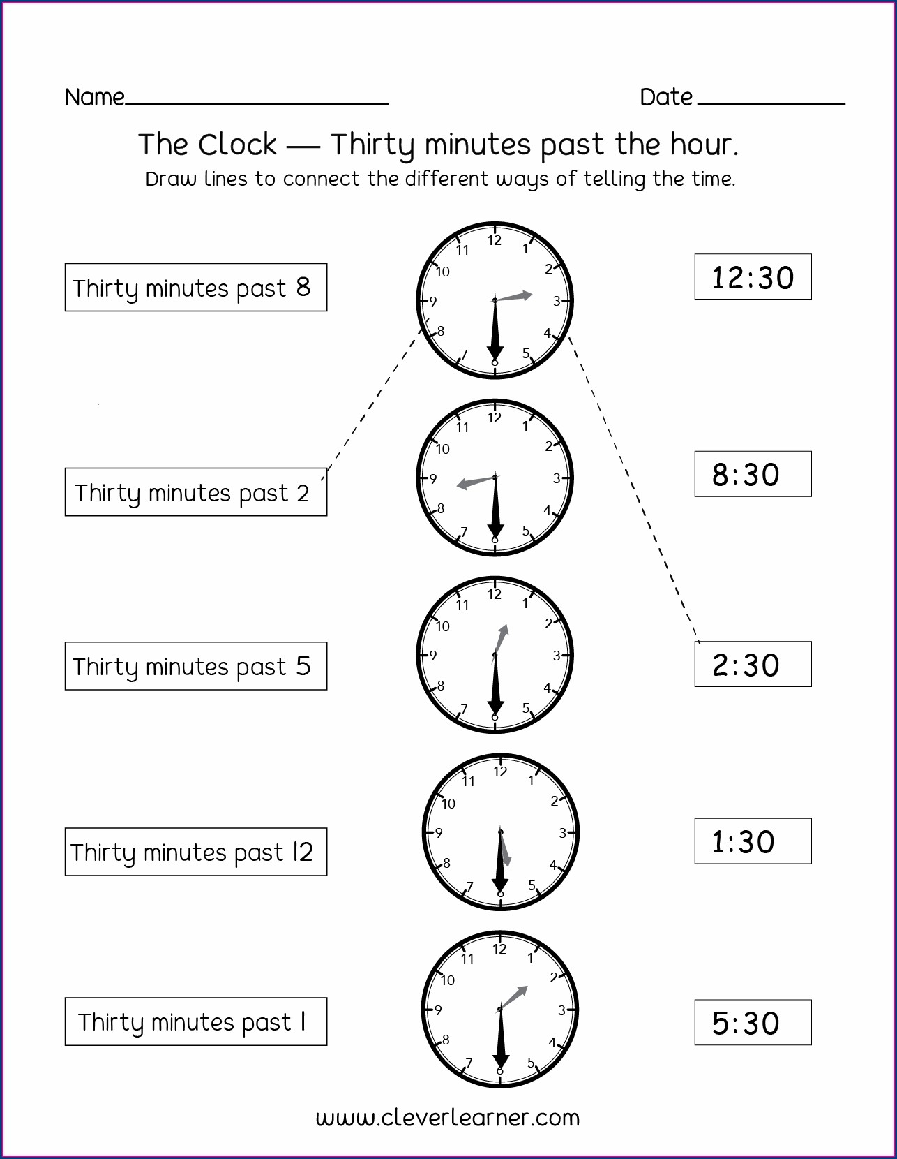 Half Past Telling Time Worksheets Grade 1 Worksheet