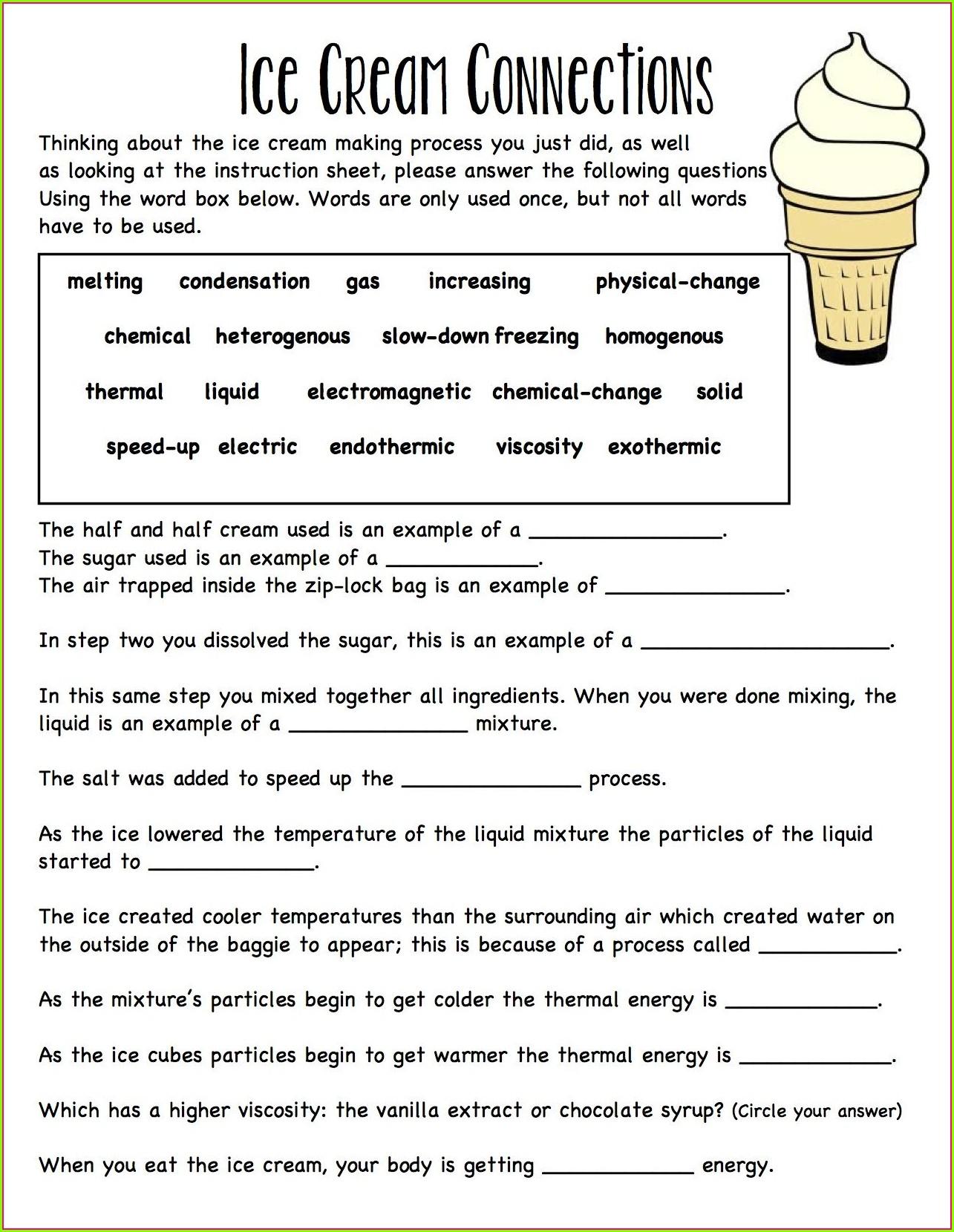 Science Matter Periodic Table Worksheet Handout Worksheet