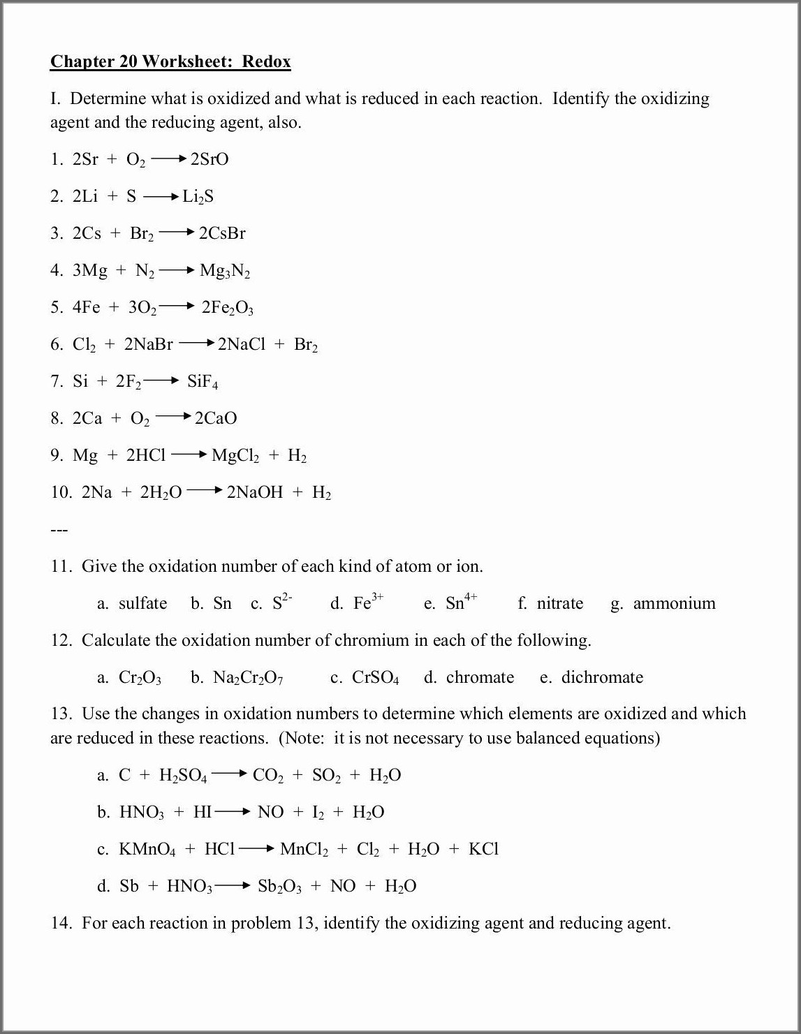Assigning Oxidation Numbers Worksheet And Answers