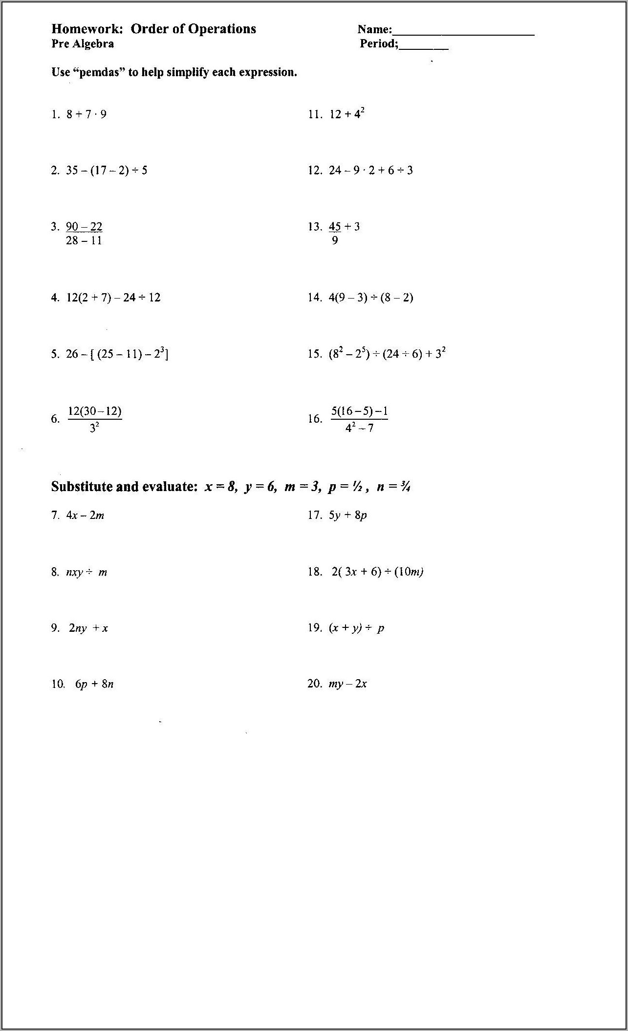 8th Grade Evaluating Algebraic Expressions Worksheet